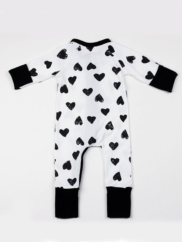 d90a2aa377c ... Love Heart Zipper Infant Romper Baby Girl Boy Jumpsuit for Spring  Autumn ...
