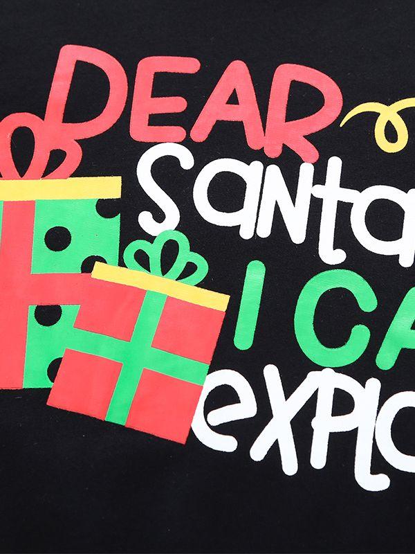 60a7708069e ... Dear Santa I Can Explain Letters Gift Box Print Black Jumper Toddler  Big Boys Girls Cotton ...