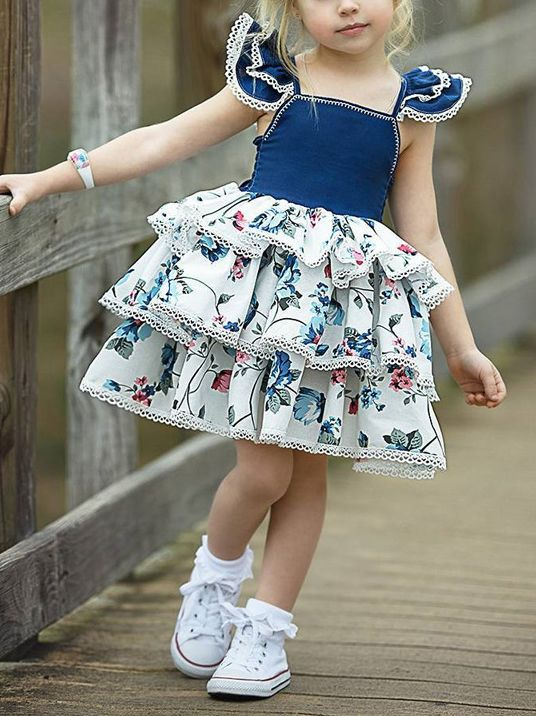e685b34b8a2d ... Fashion Flutter Sleeve Floral Print Layered Dress Baby Toddler Girl  Summer Dress Spanish Style Clothes ...