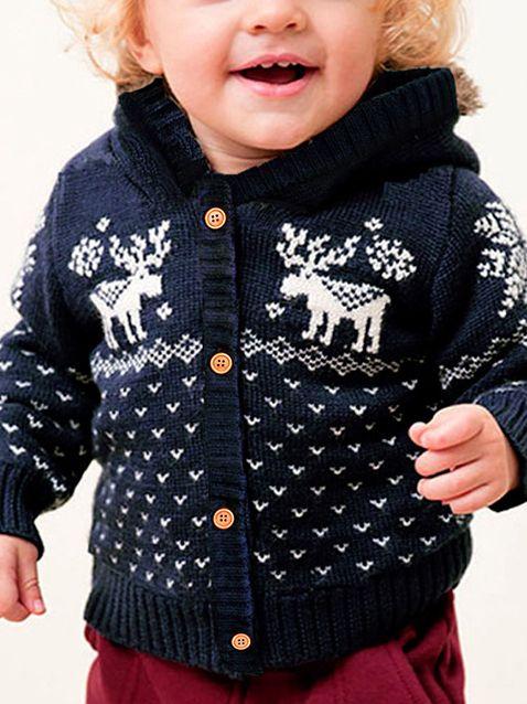 Christmas Tree Elk Crochet Hooded Cardigan Xmas Baby Boy Girl Knitted Coat Wholesale