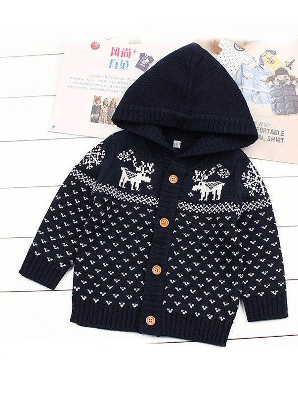 81140f31e Wholesale Christmas Tree Elk Crochet Hooded Cardigan