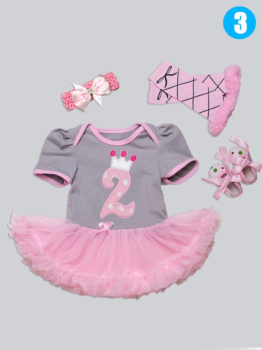 7cee49ea0 Wholesale 4 PCS Baby Girl Birthday Party Dress Set
