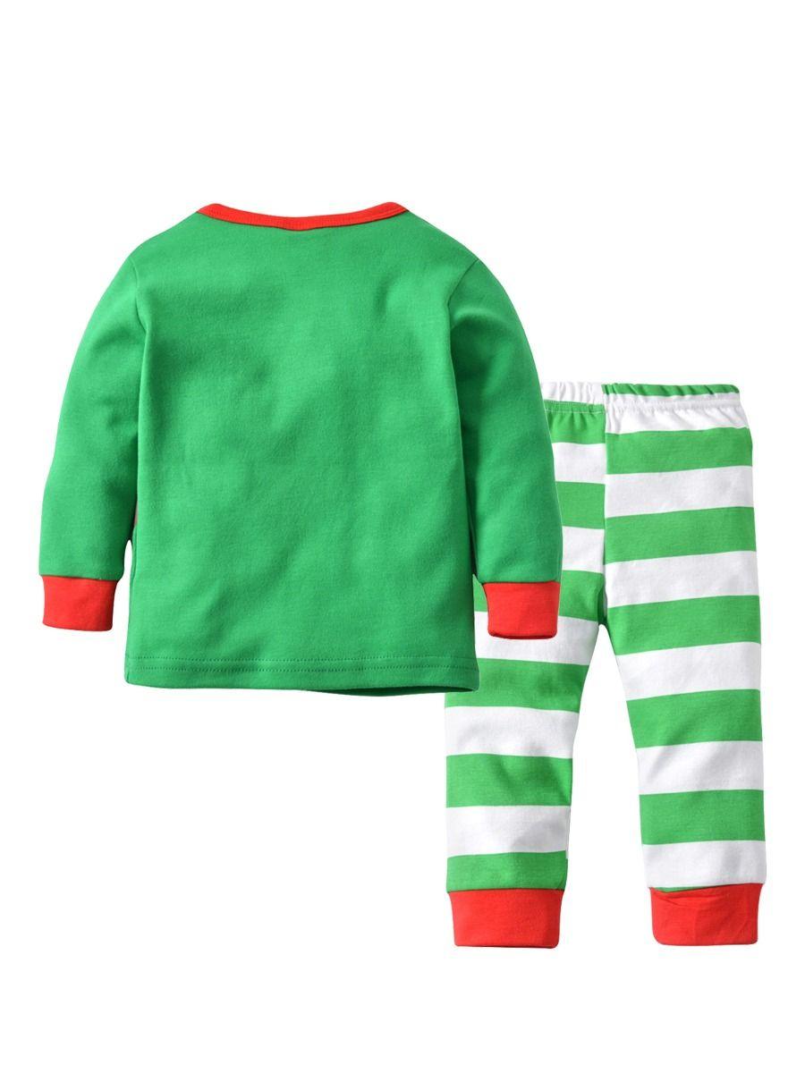 c3a2d2bdceb5f ... 2PCS Baby Toddler Kids Christmas Outfits Santa Clause Elk Print T-shirt  Top +Green ...
