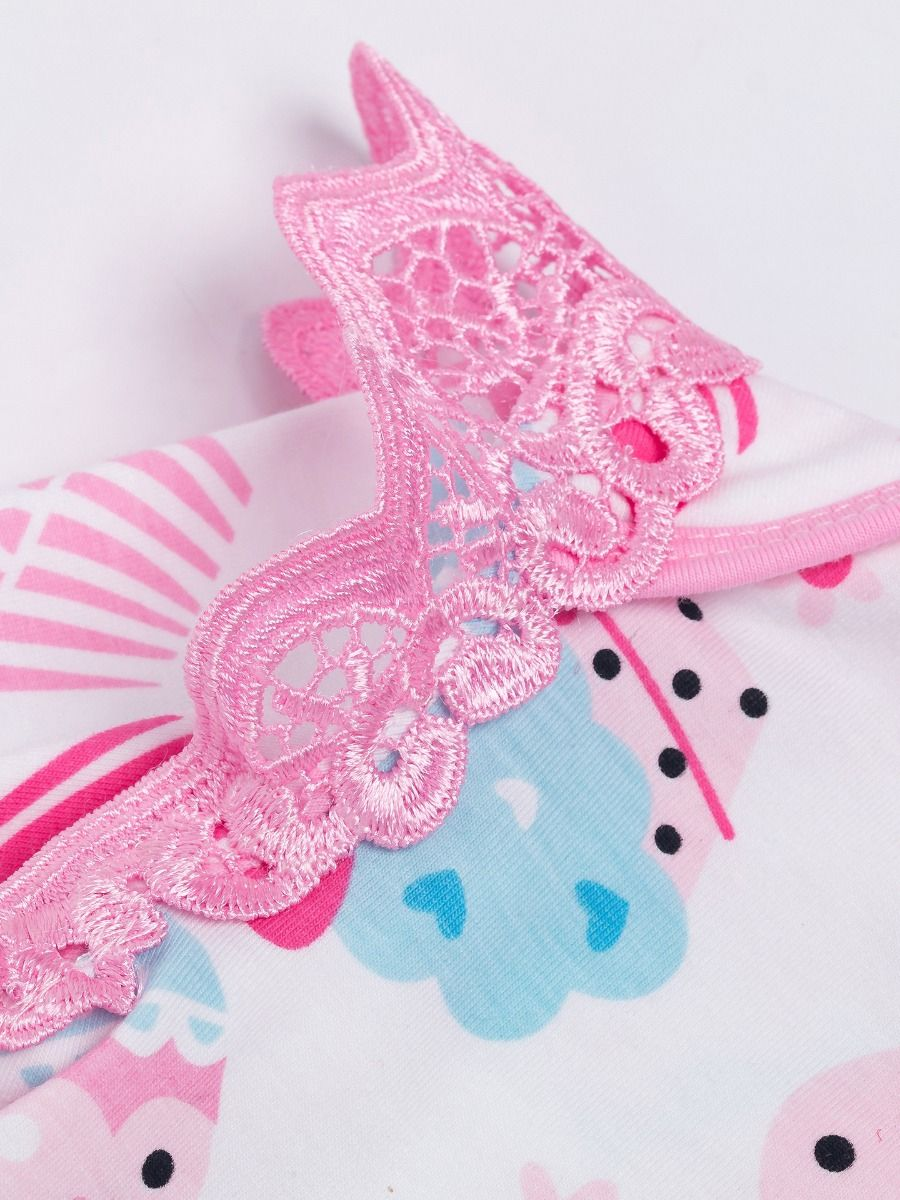 ad221057de1 ... 3PCS Baby Girl Party Romper Skirt Set Adorable Cupcake Print Pierced Flutter  Sleeve Romper+Pink ...
