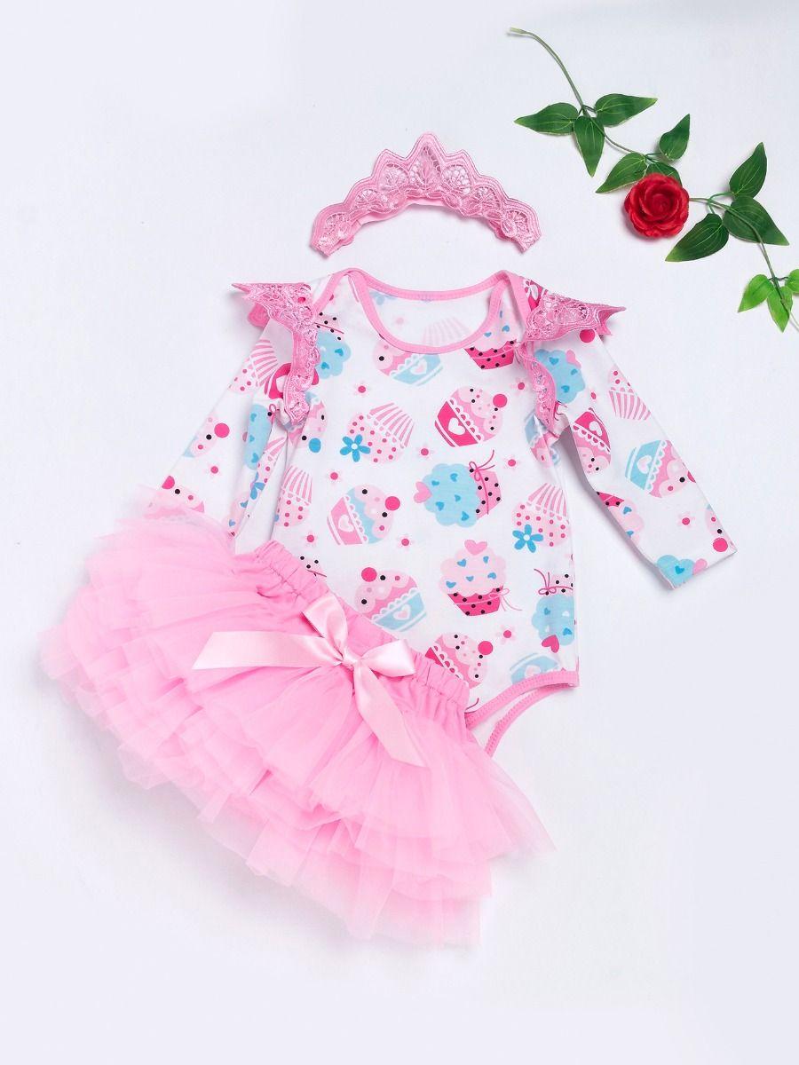 b4b72a7a23c 3PCS Baby Girl Party Romper Skirt Set Adorable Cupcake Print Pierced Flutter  Sleeve Romper+Pink ...