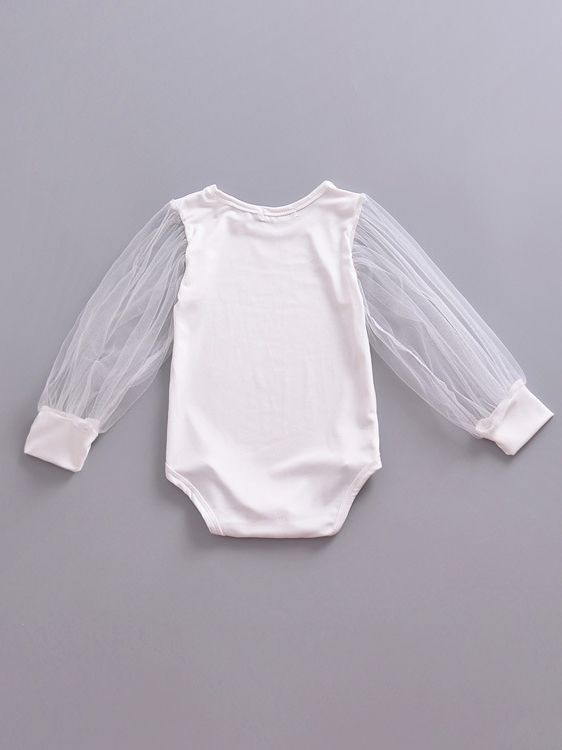 e9001c697a5 ... White Tulle Baby Romper Summer Spring Infant Girl Onesie Long Sleeve ...