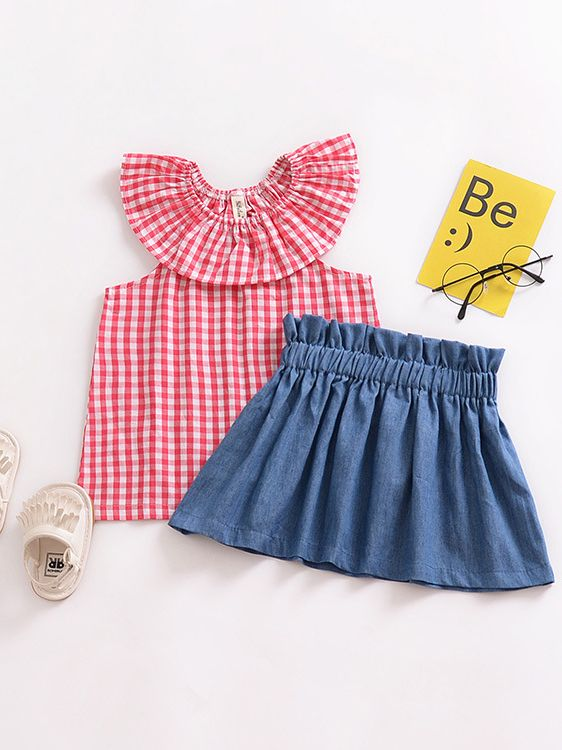 a424550bbe45 ... 2PCS Cute Baby Toddler Girl Summer Dress Set Outfit Ruffled Collar Red  Checked T-shirt ...