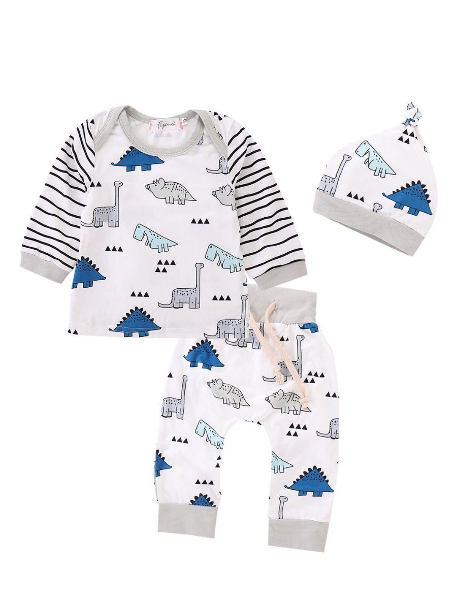 bdbd3f3cb 3PCS Baby Boys Girls Clothes Set Outfit Cute Cartoon Dinosaur Striped  T-shirt Top Long ...