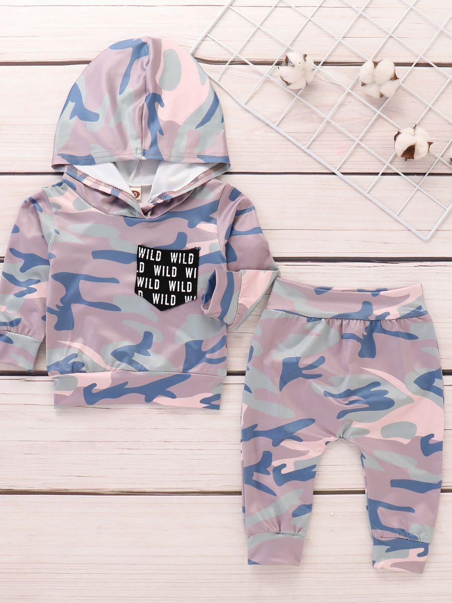 fab052a9c3f0 ... 2PCS Fashion Baby Boys Girls Camouflage Sportswear Set Hoodie Sweatshirt  Top+Long Pants ...