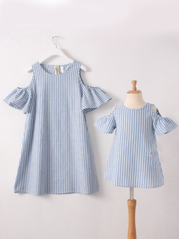 d7c28a06f1 Mommy and Me Off-Shoulder Trumpet Sleeve Blue and White Striped Summer Dress  ...
