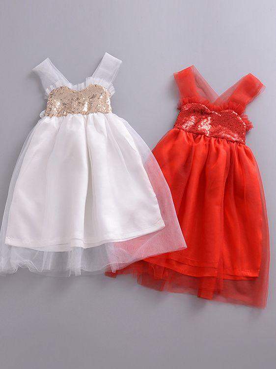 7f3abdd654d0 ... Baby Toddler Girls Sequins Tulle Baptism Dress Suspender Wedding Party  Dress ...