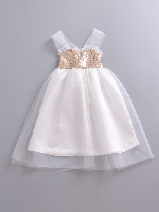 cb34aab5c7cb Baby Toddler Girls Sequins Tulle Baptism Dress Suspender Wedding Party Dress  ...