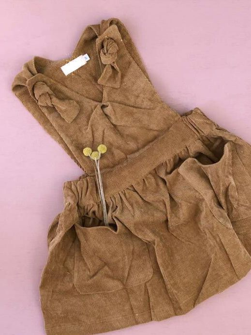2bd58e645fe2 ... Solid Color V Collar Suspender Corduroy Dress with Pockets for Baby  Toddler Big Girls Autumn ...
