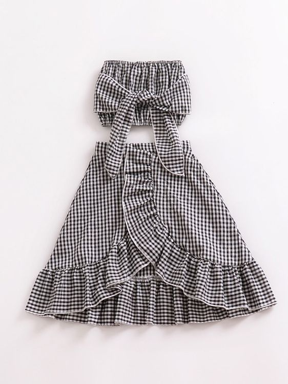 1356183017a 2PCS Baby Toddler Girls Checked Summer Dress Set Off-shoulder Top+ Asymmetrical Hemline Wrap ...