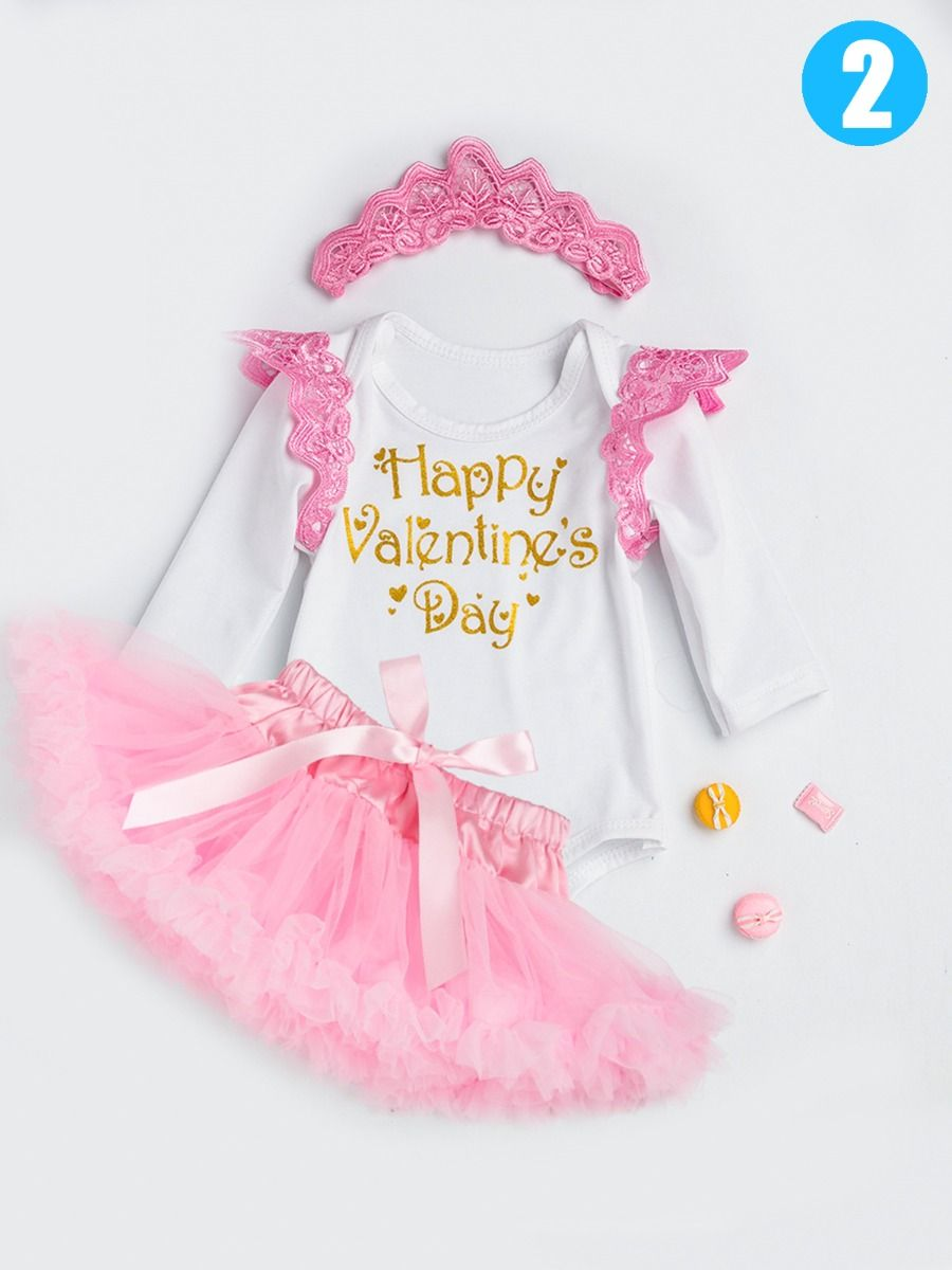 f4039ea7 ... 3PCS Infant Girls Party Dancing Dress Set Outfit Happy Valentine's Day  Princess Letters Print Flutter Sleeve ...