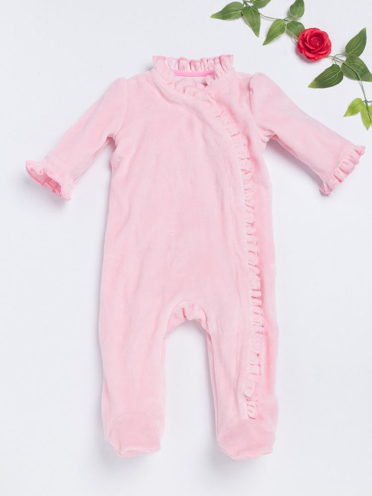35d5cb6f3cc Comfortable Newborn Pink Ruffled Footed Infant Romper Baby Girl Jumpsuit  Pajama ...