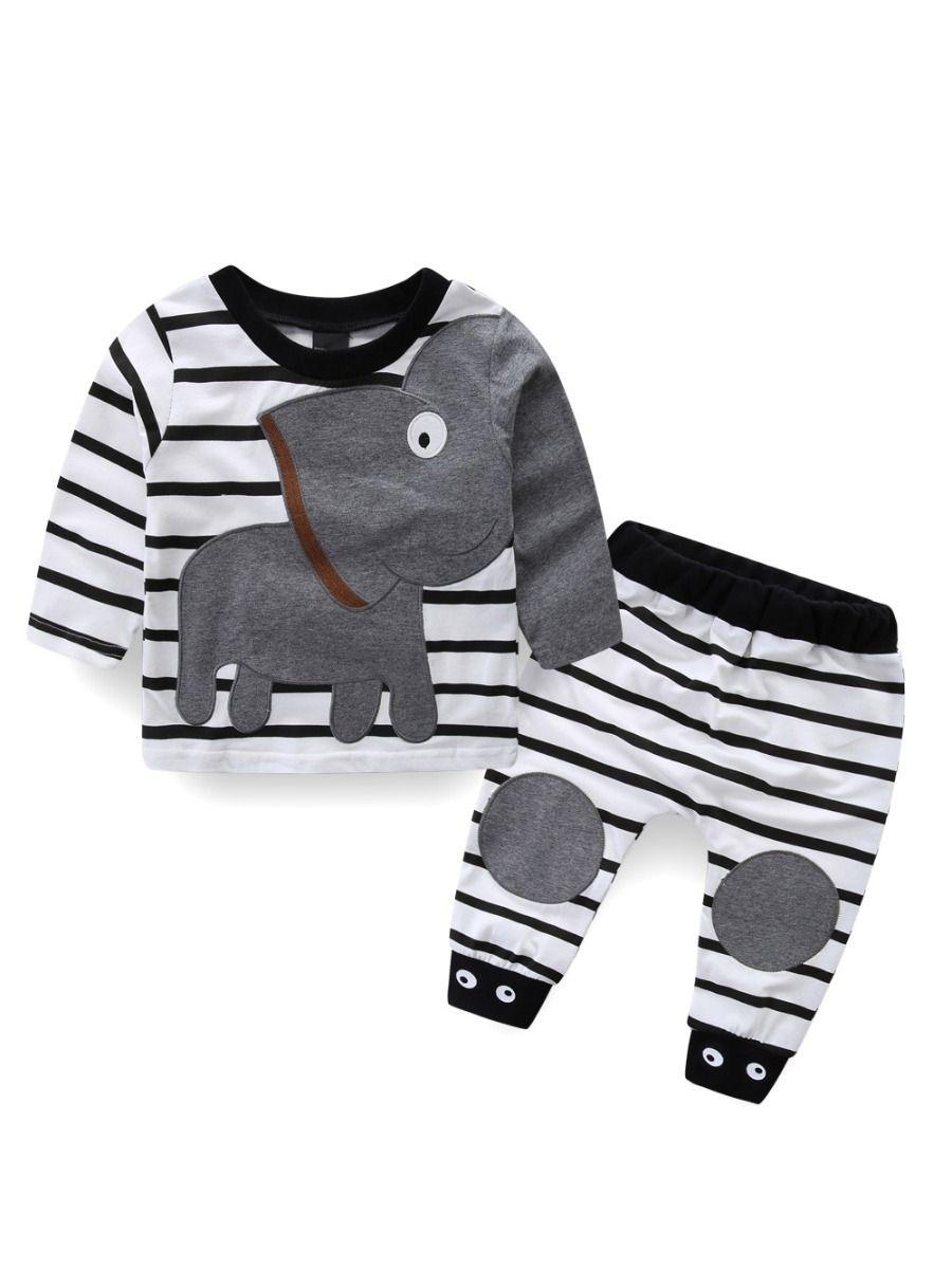 d48933d8 2 PCS Baby Boys Girls Kids Homewear Set Long Sleeve Elephant Pattern T-shirt  Top ...