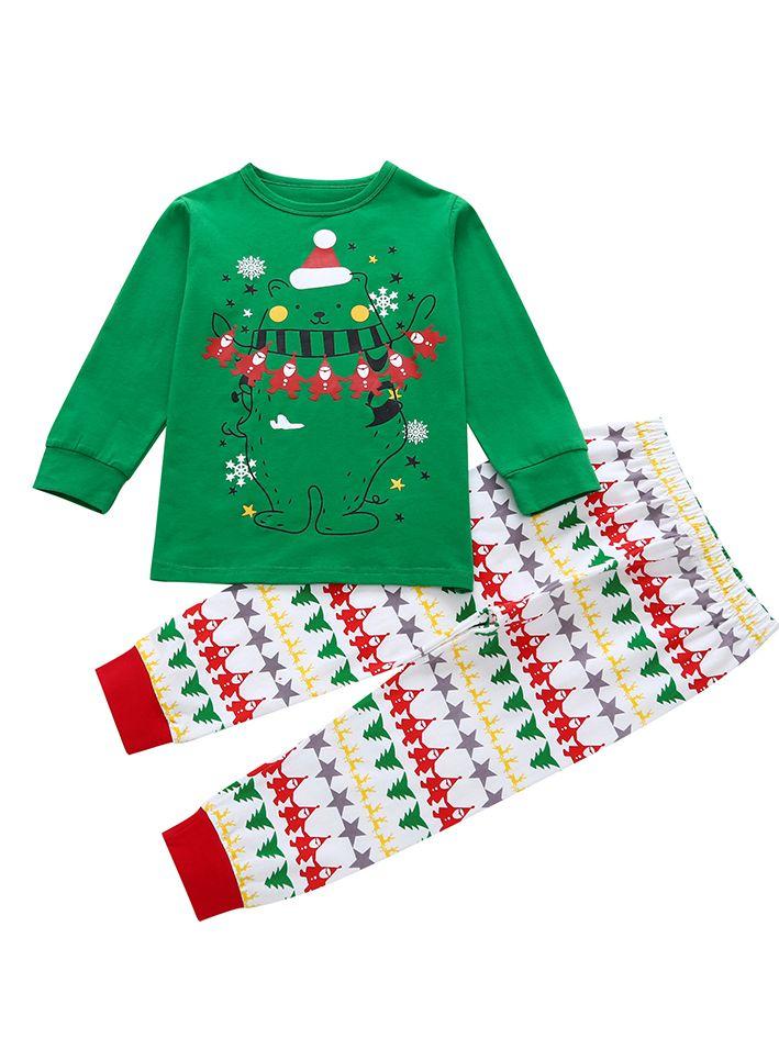 Toddler Christmas Tree.2pcs Toddler Big Kids Christmas Clothes Set Bear Print T Shirt Top Christmas Tree Reindeer Santa Clause Print Long Pants