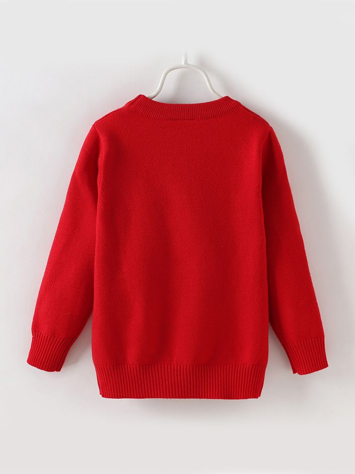 5fba94fed375d6 ... Cute Horse Pattern Toddler Big Girl Sweater Kids Casual Knitted Clothes  Red Pink ...