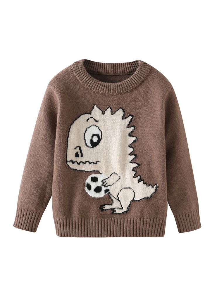 02333e355 Tap to expand · Cute Dinosaur Crochet Sweater Crew Neck Baby Toddler Unisex  Knitted Pullover Top ...