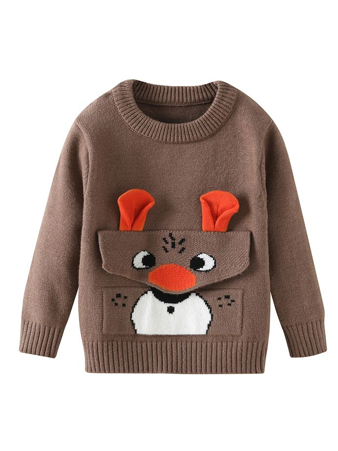 69f69b23b Cute Reindeer Christmas Knitted Sweater Baby Toddler Boys Girls Xmas  Apparel Wholesale