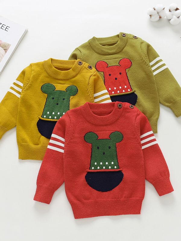 719589840 Wholesale Cute Cartoon Animal Crochet Buttoned Sweater