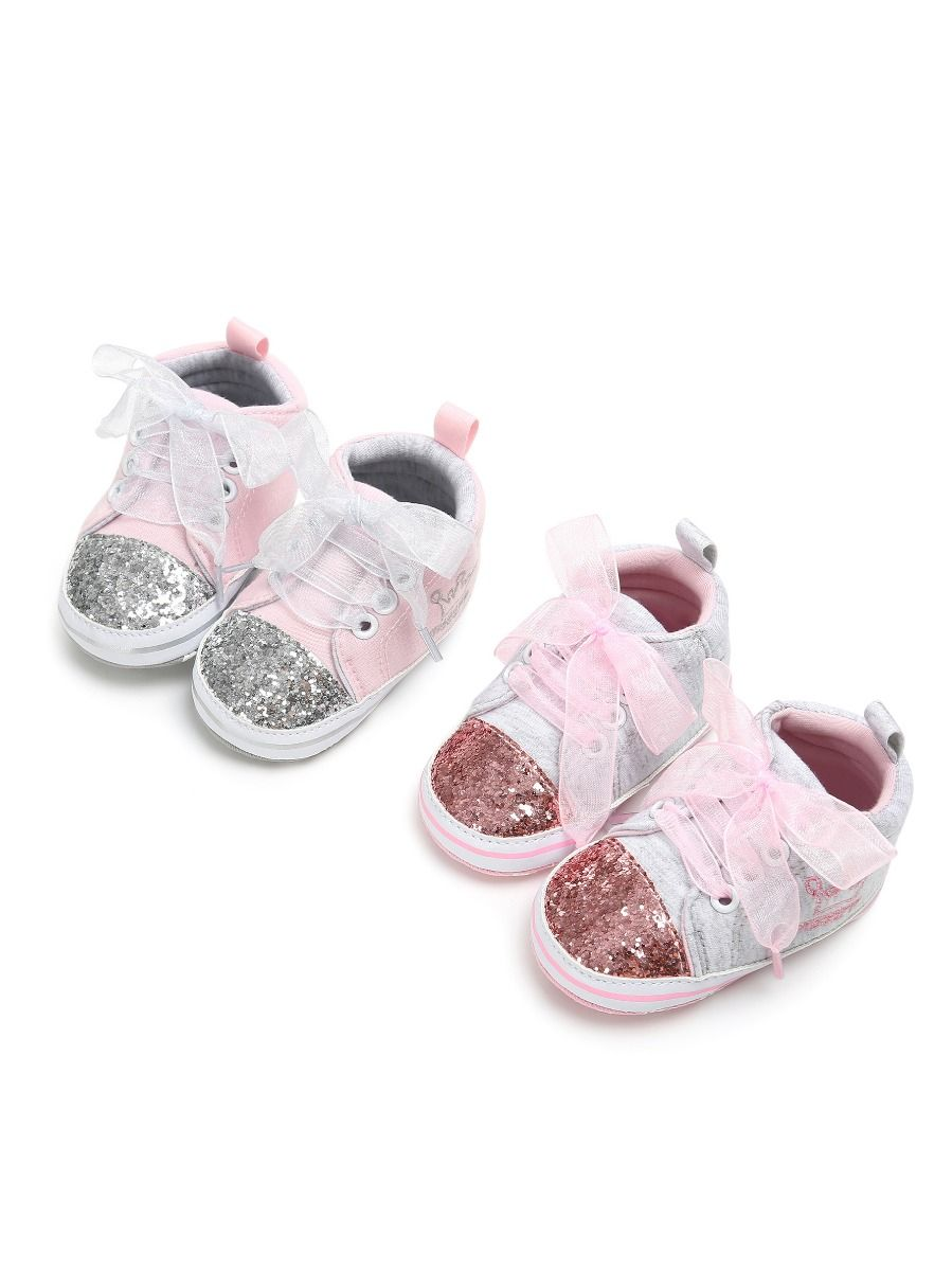 Fashion Sequin Crown Embroidery Lace-up Baby Girls Princess First Start  Crib Shoes