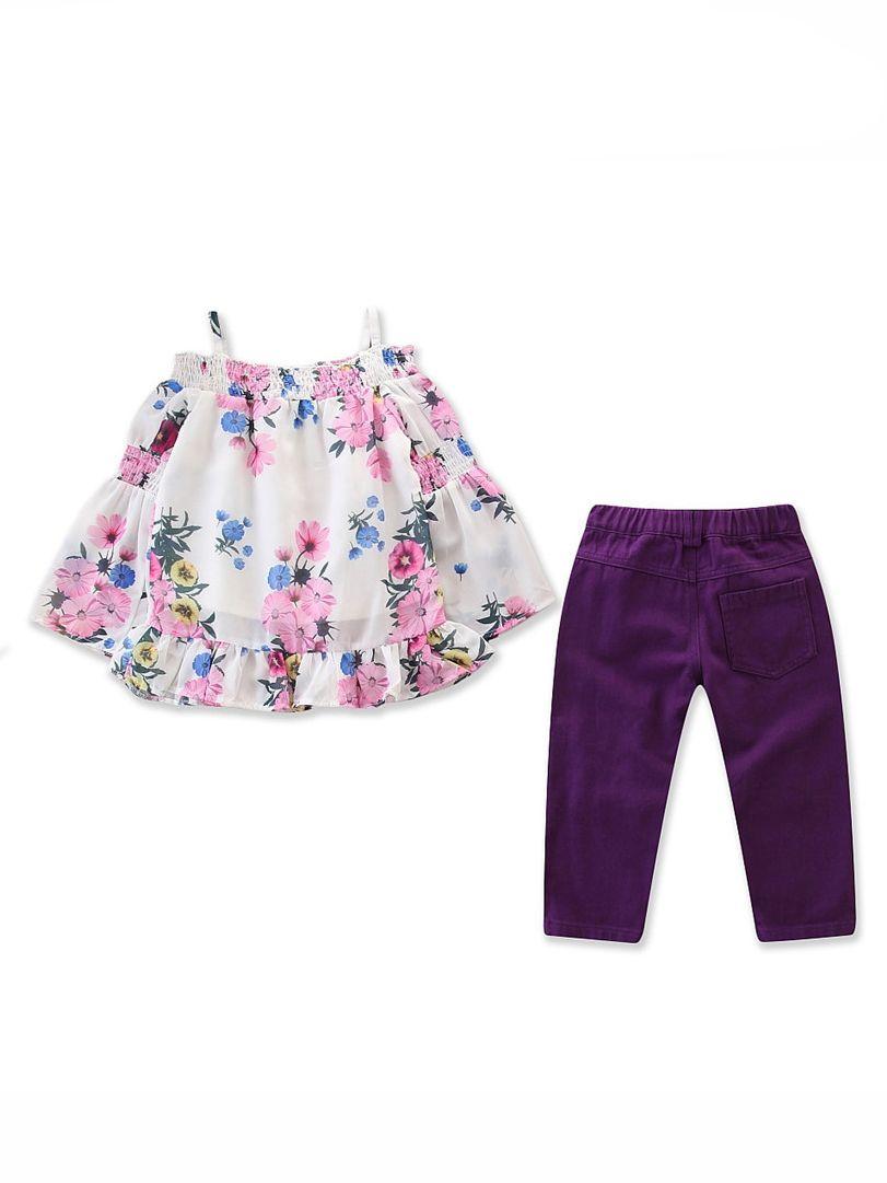 72fe0e311d5a ... 2PCS Toddler Big Girl Clothes Set Floral Off Shoulder T-shirt Trumpet  Sleeve+Ripped ...