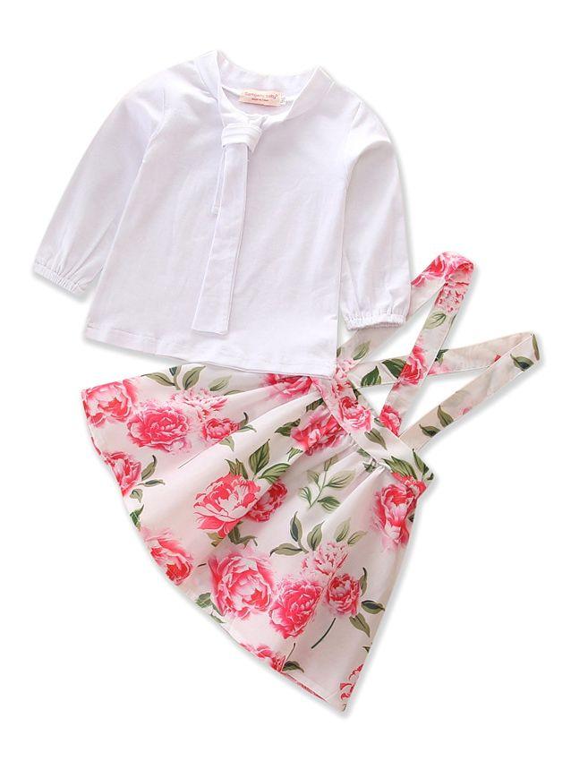 Baby Toddler Girls 2pcs Outfit Set Princess Long Sleeve T-Shirt+Suspender Flosers Dress