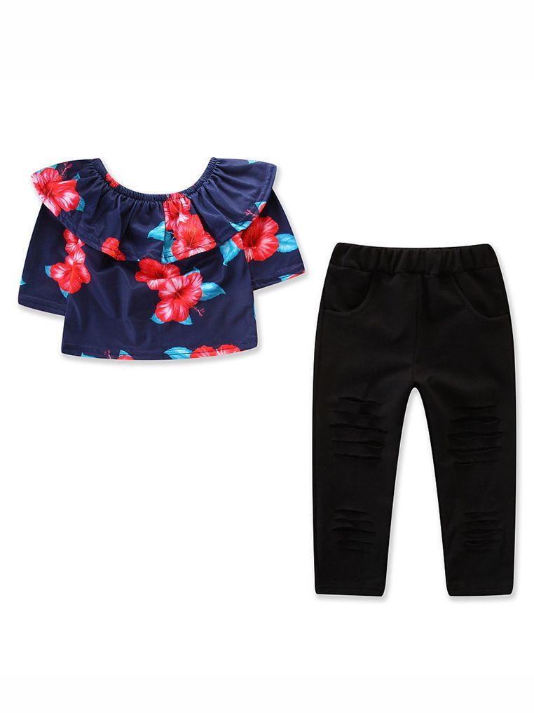 33c27d8e071 2PCS Toddler Big Girls Kids T-shirt Pants Clothing Set Off Shoulder Floral T-  ...