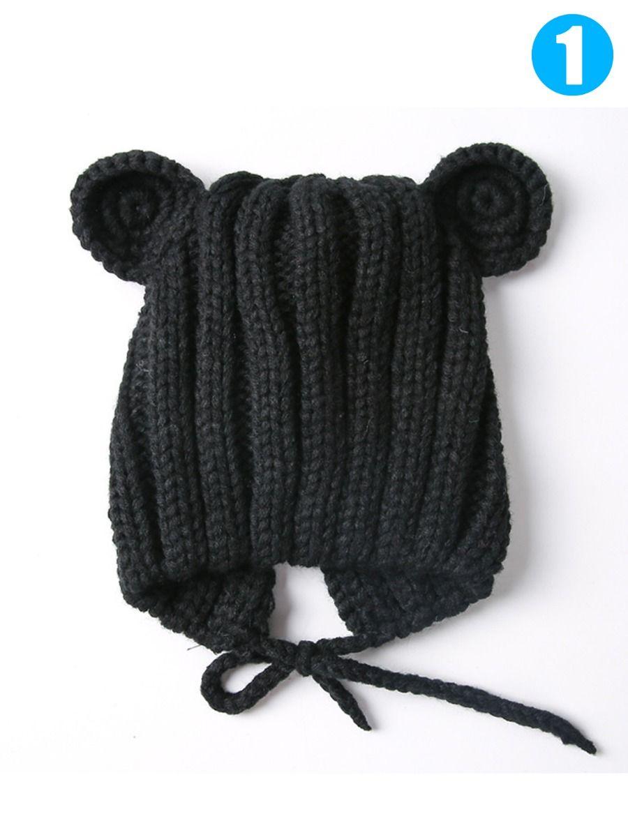 90e44dfc Cute Bear Ear Pattern Knitted Baby Earflap Hat