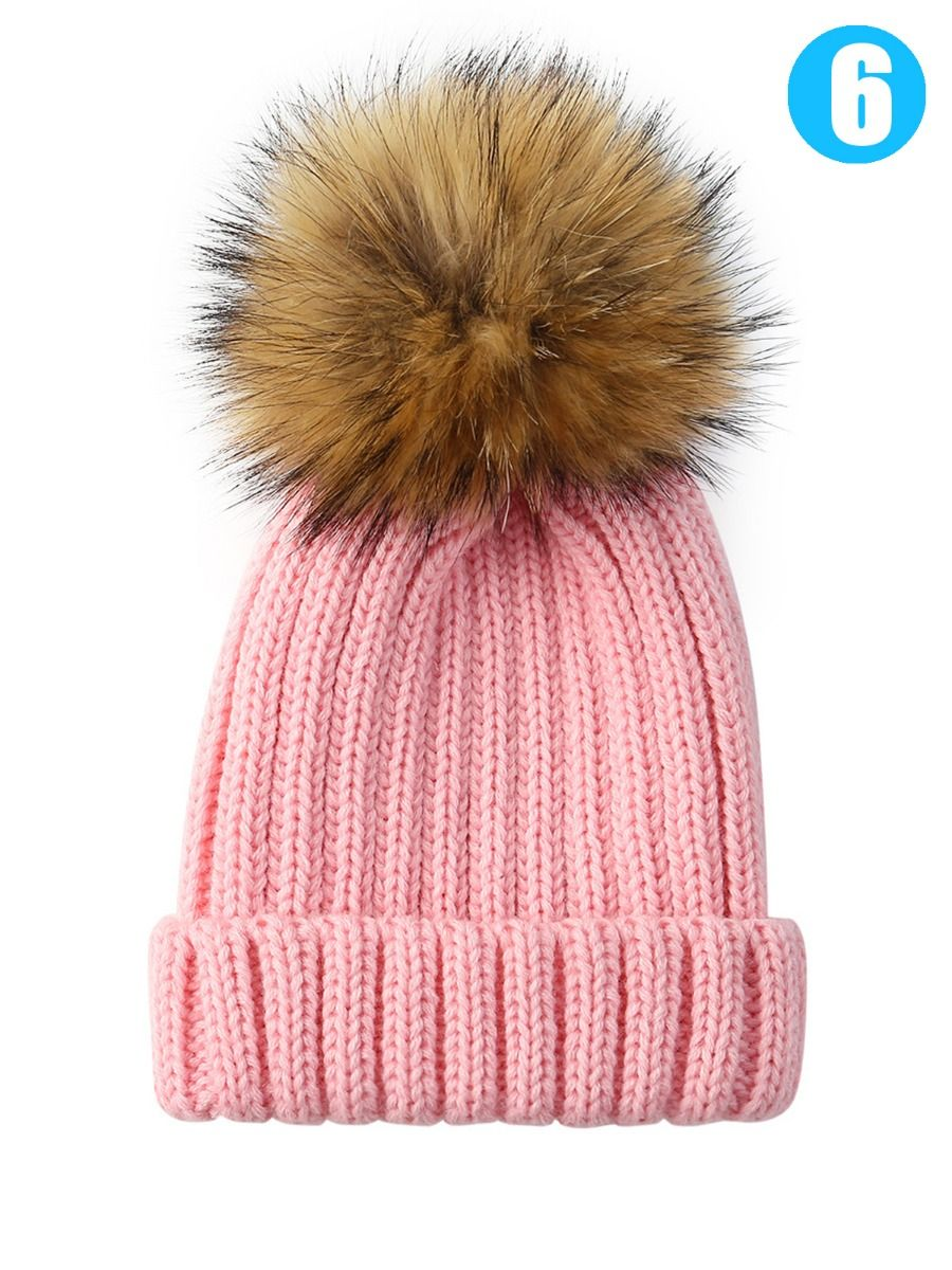 ... Baby Toddler Faux Fur Pom Knitted Beanie Hat Solid Color ... f1afb8ec182