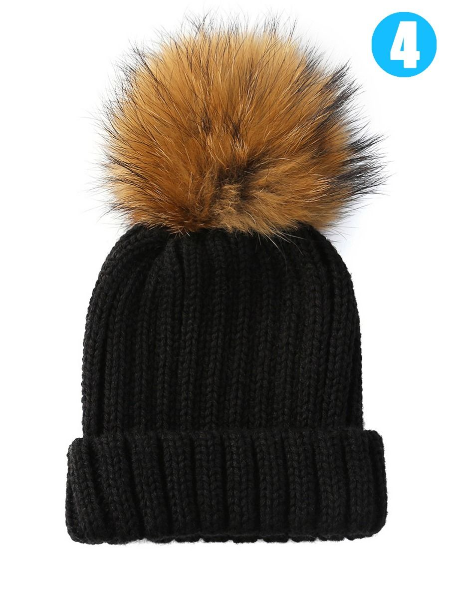 Wholesale Baby Toddler Faux Fur Pom Knitted Beanie Hat