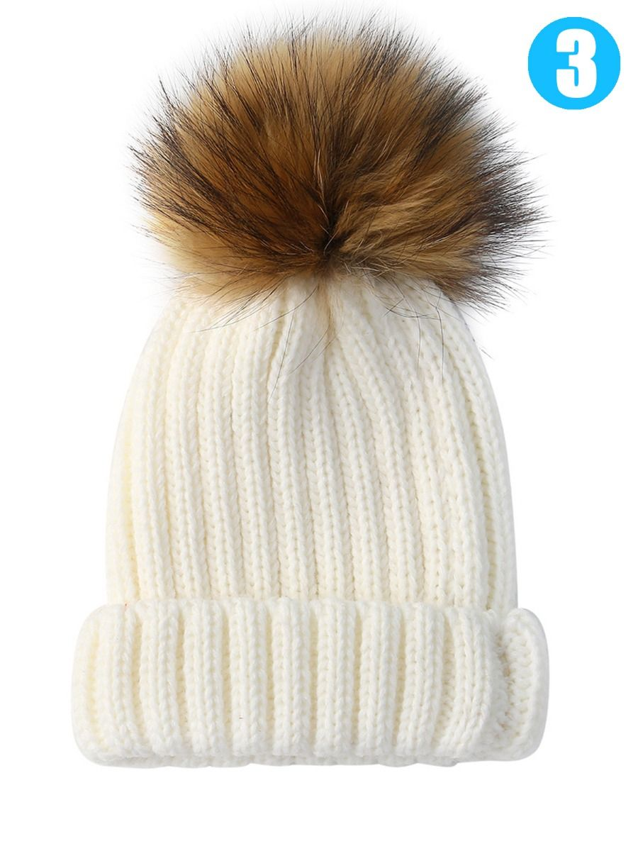 99fbf9878291a ... Baby Toddler Faux Fur Pom Knitted Beanie Hat Solid Color ...