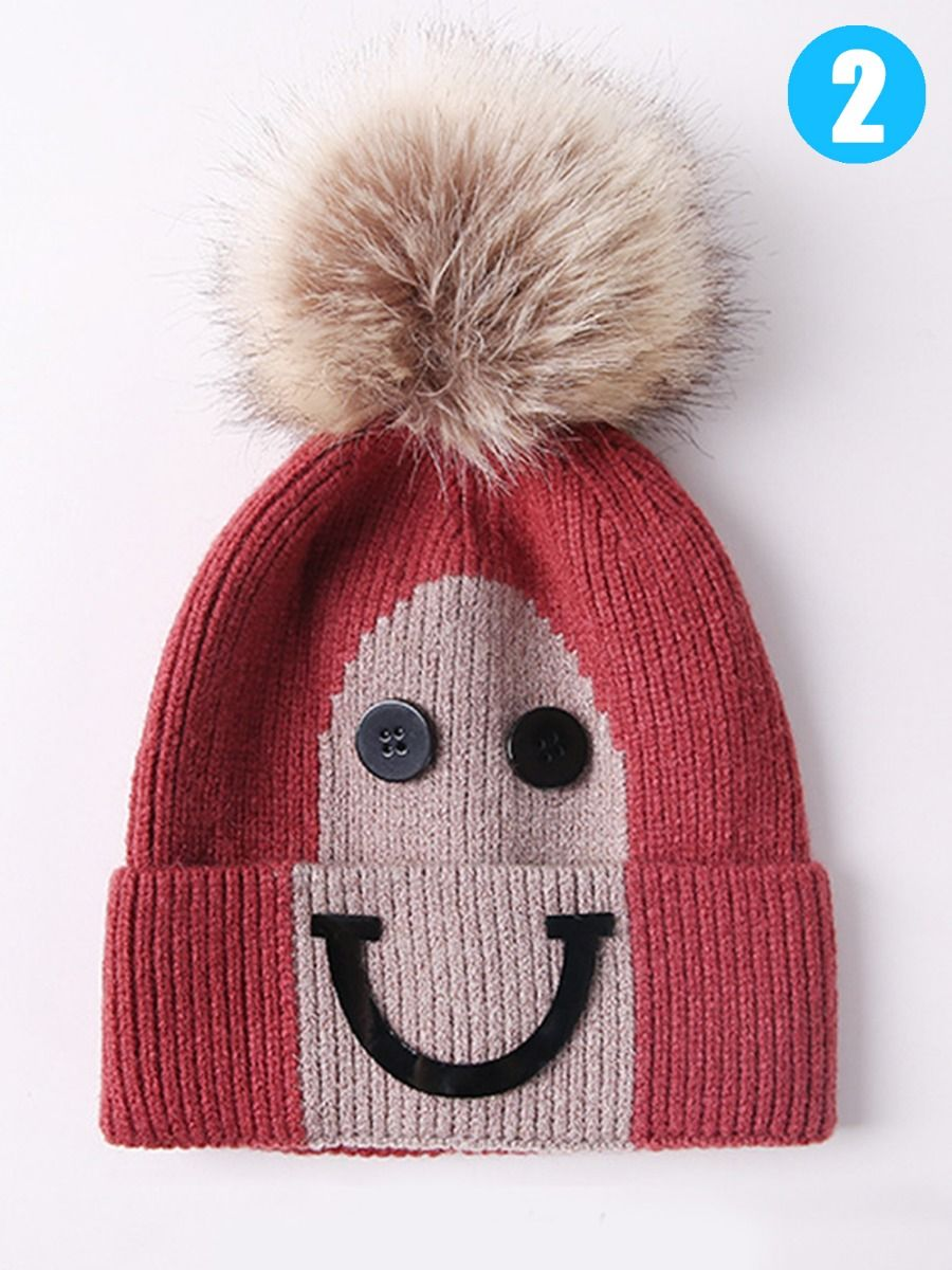 8fae5db2cae ... Big Smile Style Faux Fur Pom Knitted Beanie Hat for Baby Toddler  Children ...