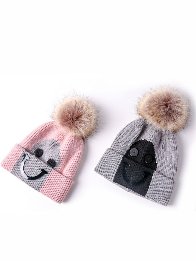 1ee773e28ab ... Big Smile Style Faux Fur Pom Knitted Beanie Hat for Baby Toddler  Children