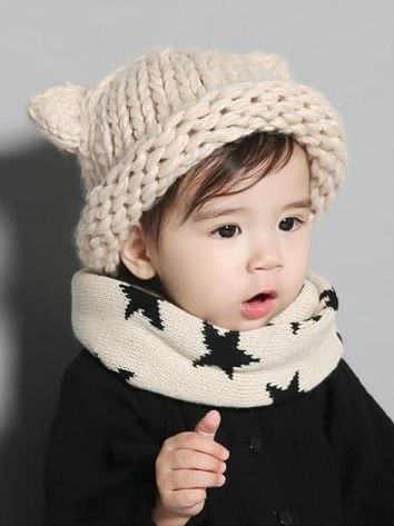 454776365dc ... Cute Cartoon Animal Ear Cable Knit Beanie Hat Solid Color Baby Toddler  Muffler ...