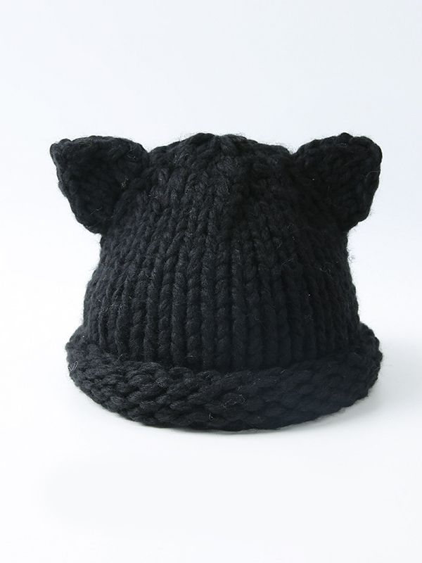 25a9d831 ... Cute Cartoon Animal Ear Cable Knit Beanie Hat Solid Color Baby Toddler  Muffler ...