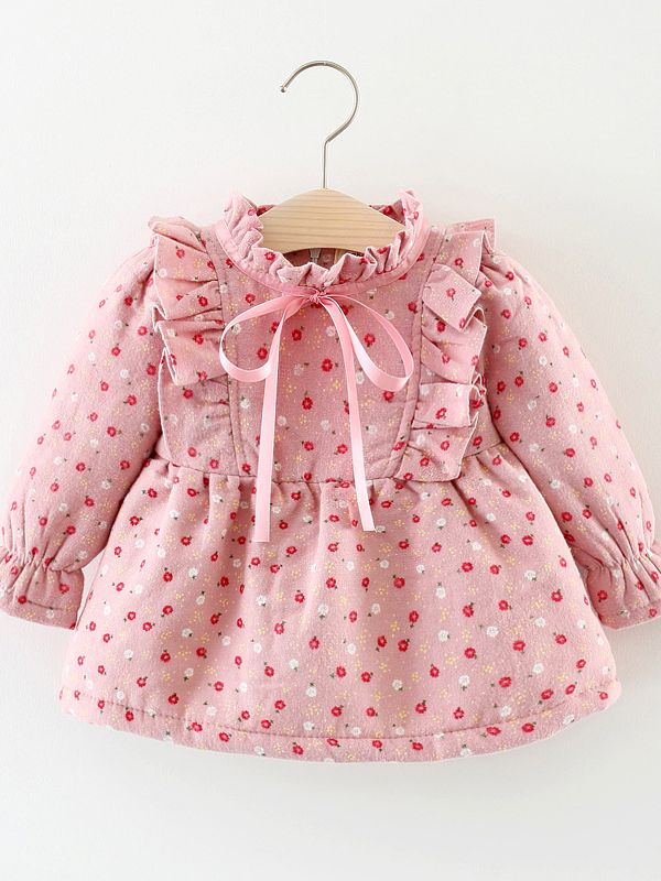 8834de95acba7 Flower Fleece-lined Bow Ruffled Baby Girl Winter Dress Outwear ...