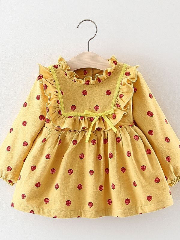 a5451ad40 Hover to zoom · Strawberry Ruffled Fleece-lined Baby Girl Dress Infant  Winter Apparel ...
