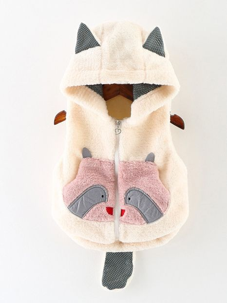 9c445e8a61ab0 ... Adorable Bear Pattern Baby Hooded Gilet Infant Winter Clothes Outwear  ...