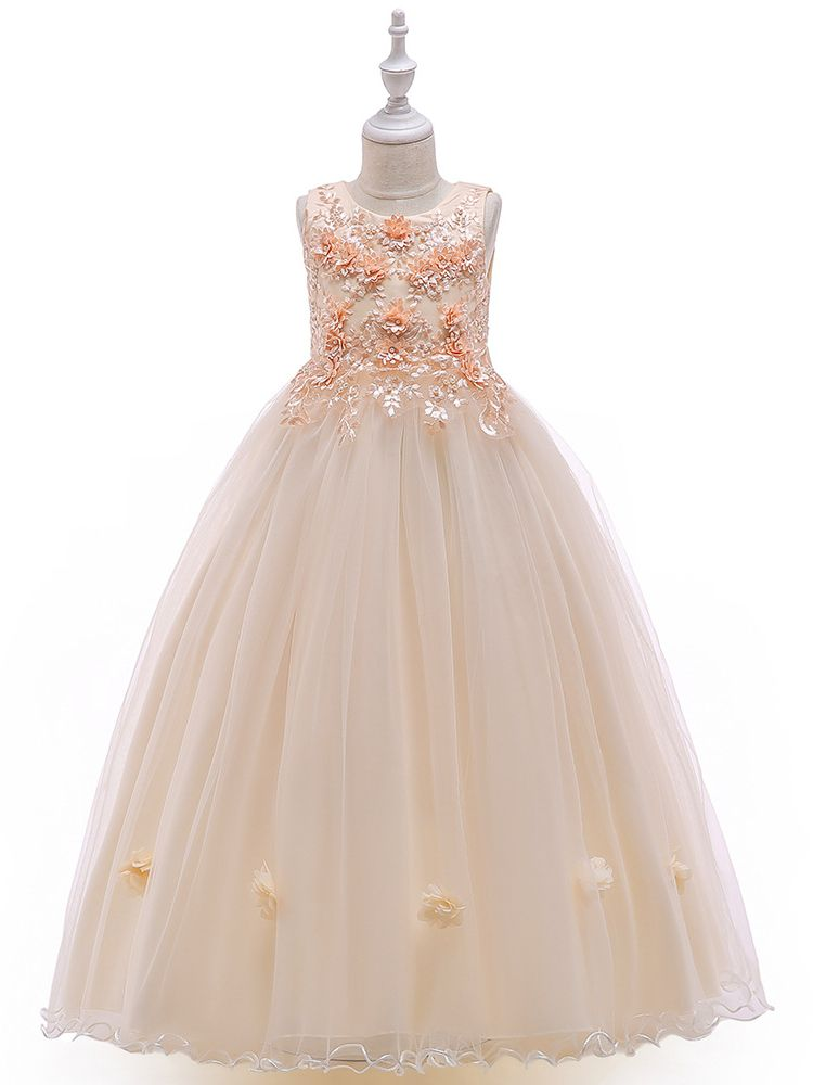 b30602414f5 Stylish Sleeveless Floral Embroidery Bodice Tulle Fit & Flare Kids Princess  Wedding Party Frock Dress Costume