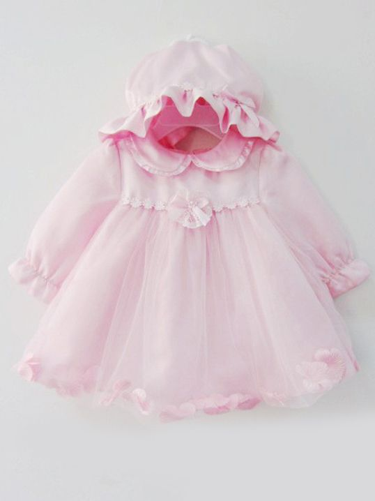 894af6893 Tap to expand · Fancy Peter Pan Collar Flower Bow Trimmed Pink Baby 1st  Birthday Dress with Hat Christening Gown ...