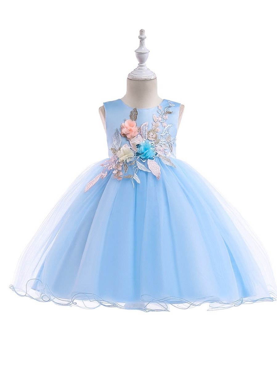 ea7a509a0 Wholesale Sleeveless Flower Embroidery Toddler Big Girl
