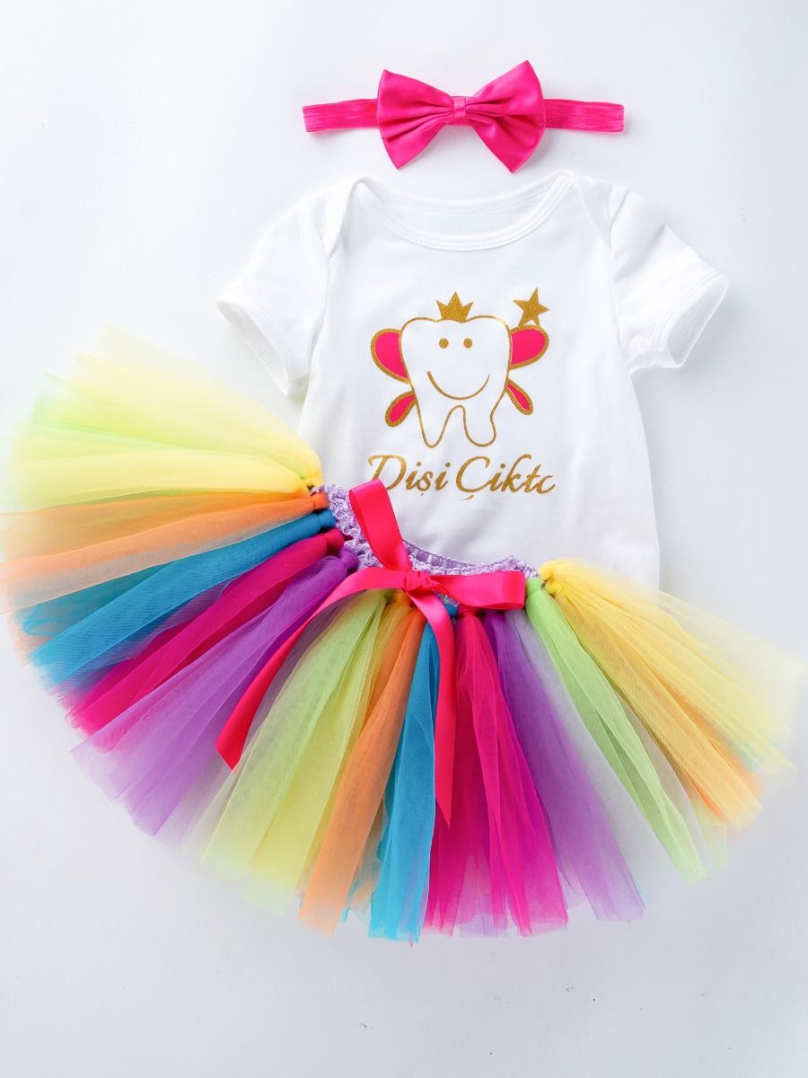 7adeb0ae1d7 ... 3PCS Baby Girl Princess Outfit Set Cartoon Short Sleeve Romper+Bow  Multicolor Skirt+Bow ...