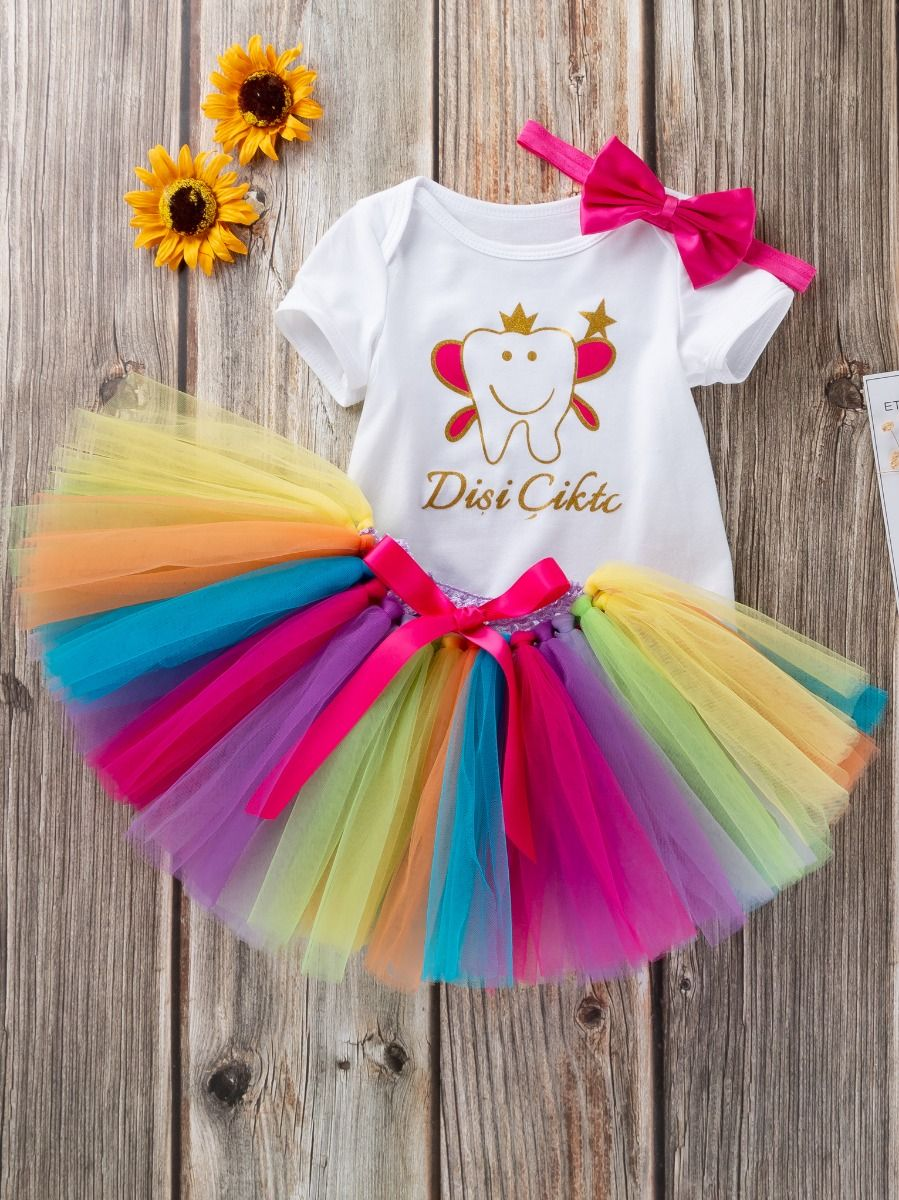 096cce875d2 3PCS Baby Girl Princess Outfit Set Cartoon Short Sleeve Romper+Bow  Multicolor Skirt+Bow ...
