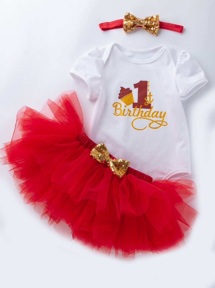 12f28769b ... 3PCS Baby Girl First Birthday Outfit Set Gold Shiny 1st Birthday Romper  Short Sleeve+Red ...