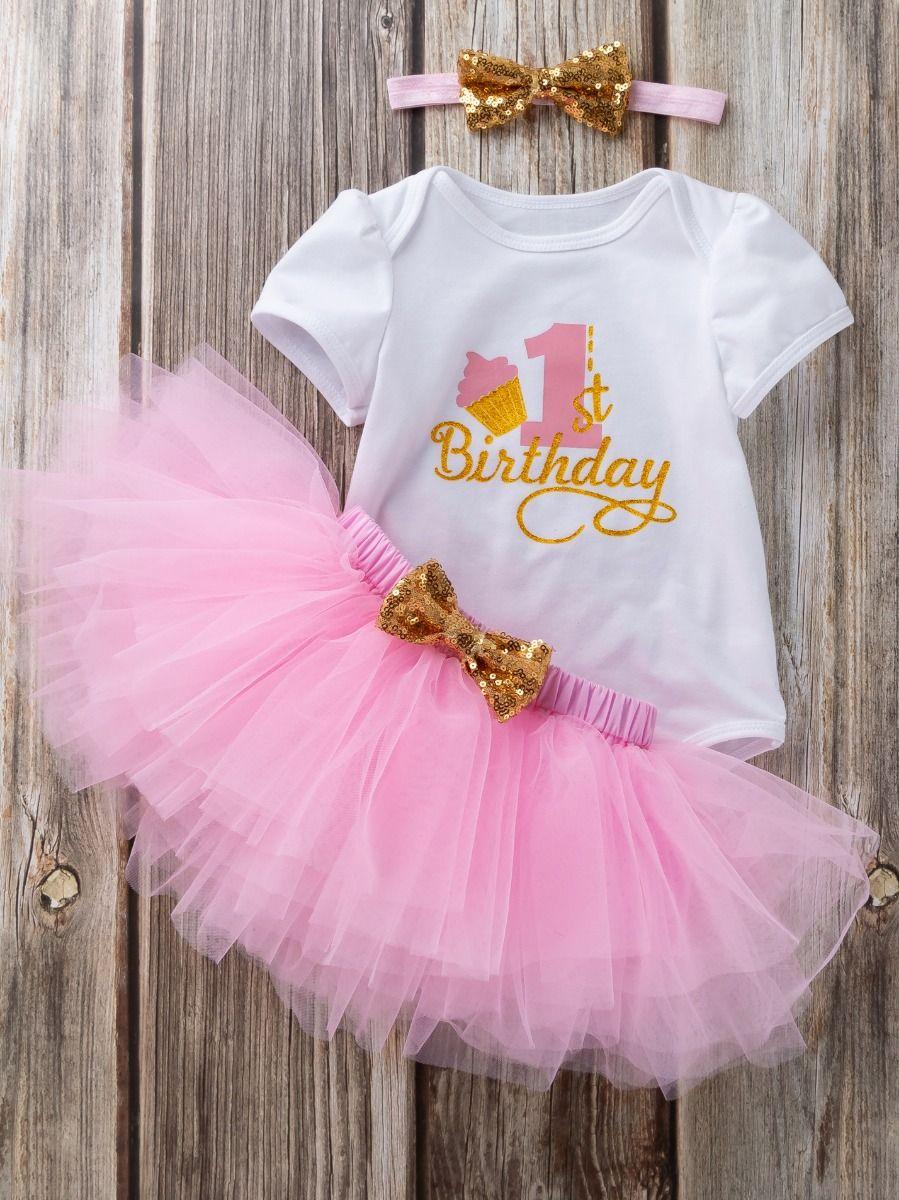 7dab2fb8b145 3PCS Baby Toddler Girl Birthday Outfits Set Gold Shiny 1st Birthday  Bodysuit Short Sleeve+Pink ...