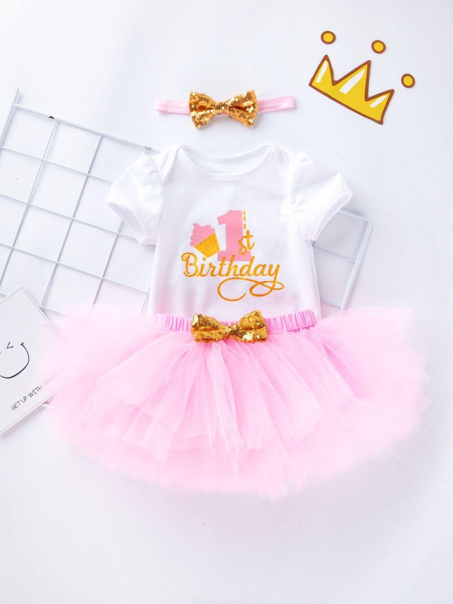 c5aa47e2dc1d ... 3PCS Baby Toddler Girl Birthday Outfits Set Gold Shiny 1st Birthday  Bodysuit Short Sleeve+Pink ...