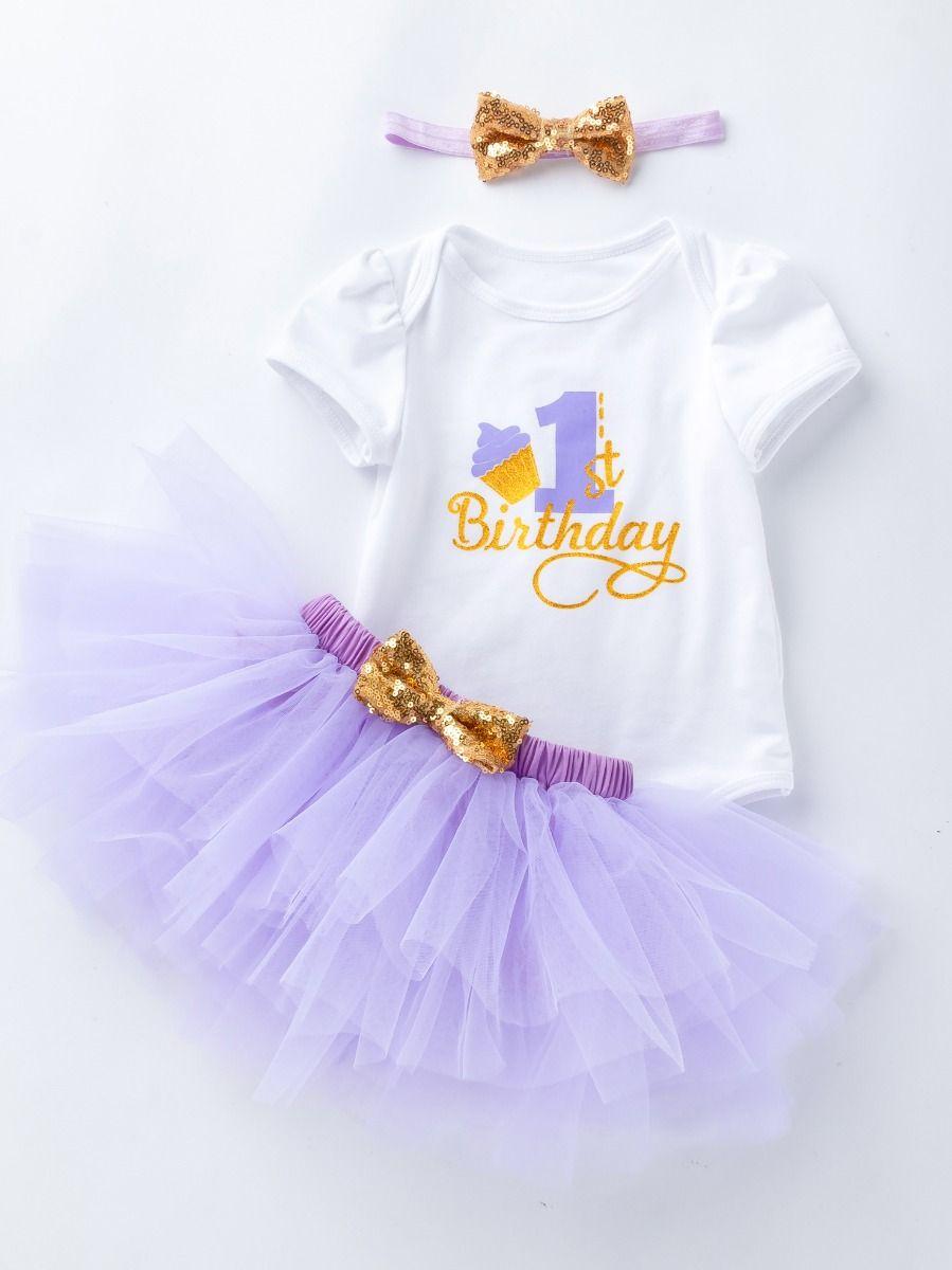 305bf19339da ... 3PCS Baby Toddler Girl 1st Birthday Clothes Outfit Set Gold Shiny 1st  Birthday Onesie Short Sleeve ...